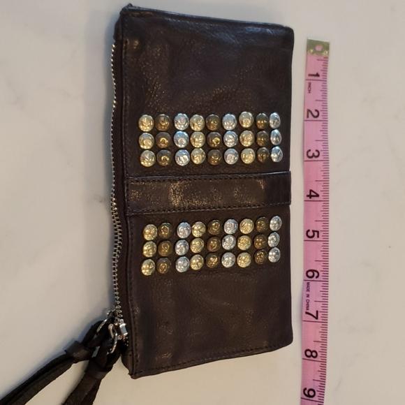 None Handbags - Brown leather wallet unique metal details